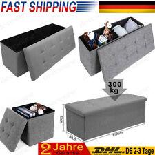 Faltbarer Sitzhocker 300kg mit Stauraum Sitzbank Aufbewahrungsbox Truhe Leinen