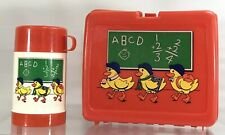 Vintage 3 Ducks Abc Math Chalkboard School Plastic Red Lunch Box With Thermos