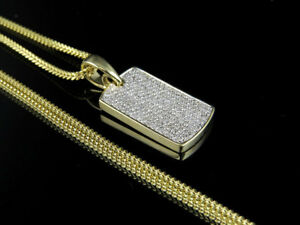"10K Yellow Gold Ice Out Diamond Dogtag 0.75 ct 1.2"" with Franco Chain 24"""