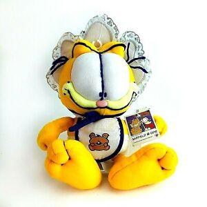 "Rare Vintage 90s Baby Boy Garfield Cat with Bib 9"" Soft Plush Toy Tagged Nanco"