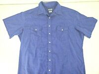 Wrangler Mens Western Short Sleeve Blue Plaid Pearl Snap Shirt Size XLT