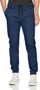 WT02 Mens Jogger Pants Navy Blue Size Small Drawstring Athletic Bottoms