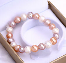 Fashion Women's 7-8mm Natural Multicolor Freshwater Pearl Bracelet Bangle 7.5""