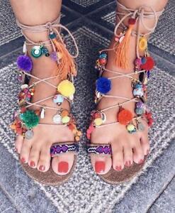 Rainbow Pom Pom Sandals