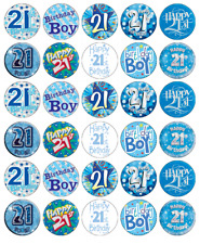 21st Birthday Boy x 30 Cupcake Toppers Edible Wafer Paper Fairy Cake Toppers