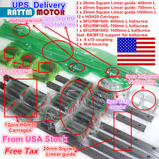 US Ship 20mm Square Block Linear guide rail+3 Ballscrew 1605-400/700/1000+BK/BF