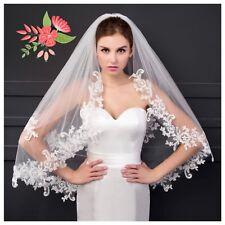 Bridal Boda Velo Marfil 2 niveles con Metal Borde De Encaje Peinado Suave Tul Suizo