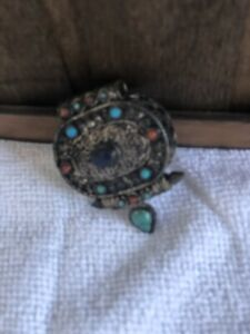 vintageSTERLING  SILVER ROSARY LOCKET SILVER BOX TURQUOISE AND CORAL 925.