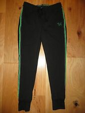 VICTORIA'S SECRET PINK BLACK GREEN COLLEGIATE SKINNY GYM PANTS SWEATS NWT XS