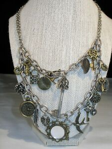 """Antique Finished Silver Tone Statement """"Charm"""" Necklace by """"ICING"""""""