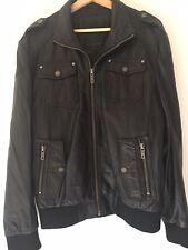 Jack and Jones Genuine Leather Jacket Medium Black Distressed Zipper Collar Mens