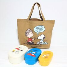 Peanut Snoopy lunch box set with Tote bag Brown Ships from Japan
