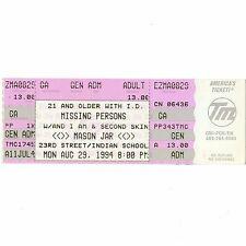 MISSING PERSONS & AND I AM & SECOND SKIN Concert Ticket Stub 8/29/94 PHOENIX AZ
