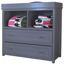AFG Baby Furniture Leila Solid Wood 2-Drawers Changing Table in Gray