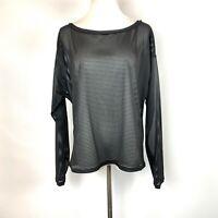 Lululemon Lean In Long Sleeve Sheer Striped Black Top Size 10