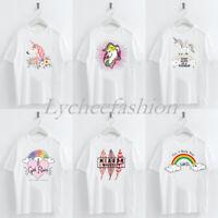 Women T-shirt Casual Harajuku Cartoon Printed Summer Short Sleeve White Tops Tee