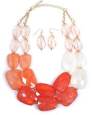 CHUNKY Multi  Acrylic Stone Coral Orange Peach White  Double  Necklace Set
