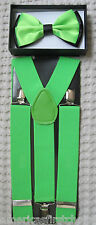 NEON GREEN BLACK TIPS TUXEDO BOW TIE+NEON GREEN WIDE ADJUSTABLE SUSPENDERS SET