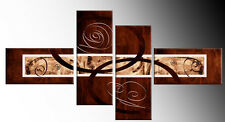 """BROWN BEIGE ABSTRACT CANVAS WALL ART PICTURES SPLIT 4 PANEL 57"""" rdy 2 hang"""