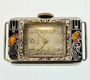 """RARE! VTG 1920s ELGIN """"LADY AND THE TIGER"""" 14K SOLID GOLD Enamel ART DECO WATCH"""