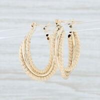 Woven Rope Hoop Earrings 14k Yellow Gold Snap Bar Pierced