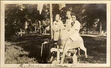 1910s Teen Girls on Carved Wood Carousel Horse Munroe Monroe Falls OH Park Photo