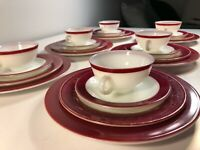 Vintage Pyrex 24pc Set Dark Red Band Milk Glass Dinner Salad Plates Cups camping