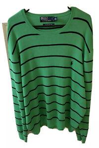 Polo Ralph Lauren Men XXL 2XL Green Blue Stripe Crewneck Sweater Pima Cotton RL