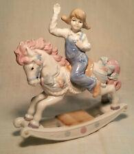 Paul Sebastian Porcelain Figurine Girl Riding On A Rocking Horse 1991