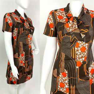 VINTAGE 60s 70s BROWN ORANGE WHITE FLORAL DAISY DOTTY MOD PUSSYBOW DRESS 16 18