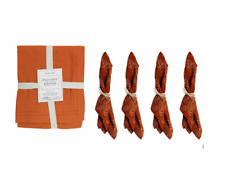 William-Sonoma Burned Orange And Gold Cloth Napkins Set Of 4 & Table Runner