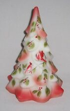 Fenton Glass Christmas Tree W/ Hand Painted Cardinals & Floral (L.E. 2/100)