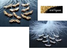 50-100 Angel Wing Angel Wings 21,5mm Rhinestone Angel Wings Gold Silver Mix