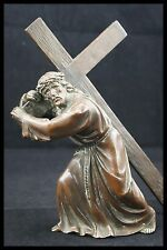 † CALVARY GOLGOTHA SCULPTURE COPPER BRONZE COLOR JESUS CHRIST WAY of THE CROSS †