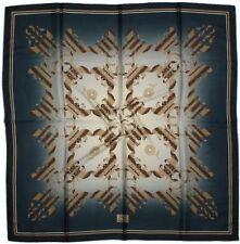 Quality Silky Square Scarf 90x90cm Head Wrap Hijab Kercief BLUE BROWN 6A