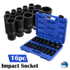 "16pcs 10-32mm 1/2"" Impact Socket Set Metric Imperial Drive Air Garage Deep AU"