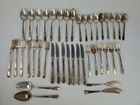 VINTAGE FLATWARE SET Fork/Spoon~41 P~1847 ROGERS BROS~ADORATION~1939~SILVERPLATE