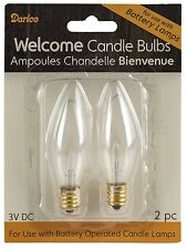CANDLE BULB, 2pk, 3V DC for Battery Operated Candle Lamps-Glass #6520