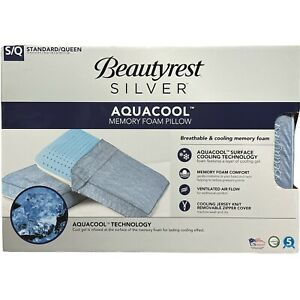 Beautyrest Silver Aquacool Memory Foam Bed Pillow Removable Cover Standard Queen