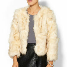 Skies Are Blue Cropped Faux Fur Coat for Women NWT SZ M