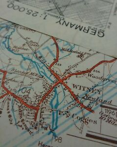 """WW2 CAPTURED GERMAN Map of """"THE COTSWOLDS"""" re-used for the INVASION of GERMANY"""