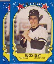 1981 FLEER BASEBALL STICKER LOT (2) BUCKY DENT YANKEES NMMT *52979