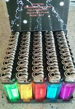 50 FULL SIZE DISPOSABLE LIGHTERS with tray assorted colors POWER LITE (not bic))