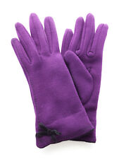 Ladies Wool Gloves PURPLE with BLACK Bow Detail