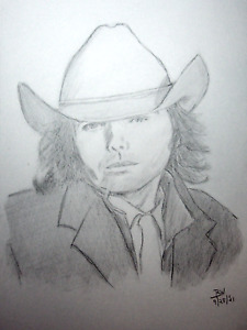 DWIGHT YOAKAM #2 PENCIL DRAWINGS 11X14 IN. PORTRAITS ORIGINAL PIECE SKETCHES