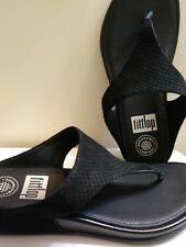FitFlop Banda Black Embossed Leather Wedge W/SUPERCOMFF Size 7 Euro 38-Beautiful