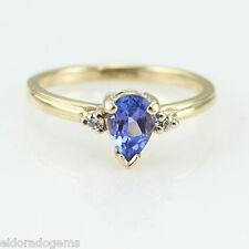 Anillo de diseño 0.80ct. PERA TANZANITA 0.06ct. Diamante 14k Oro Amarillo Tamaño