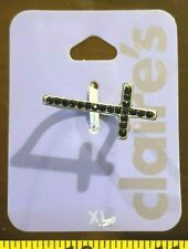 Black Gem Metal Jewellery Rrp £4.50 Claires Claire's Extra Large Xl Ring cross