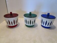 Retro American Aegaline 3 candy dish bowls Red blue Green w/lids Acrylic