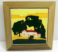 Original Signed Handpainted Ceramic Tile Wood Frame Deborah Mirsky Cosman 2005